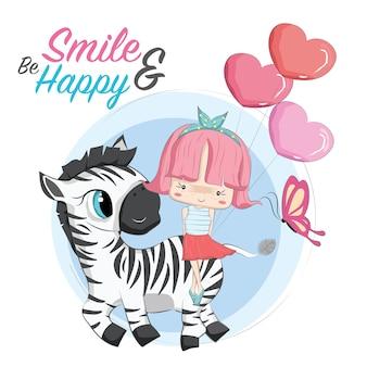 Little girl and her zebra