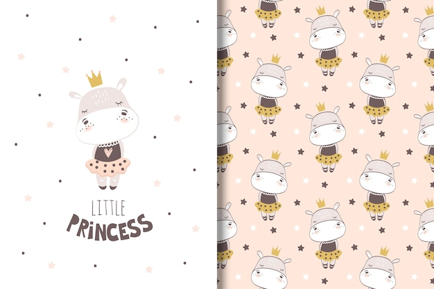 Little girl hippo card and seamless pattern for kids
