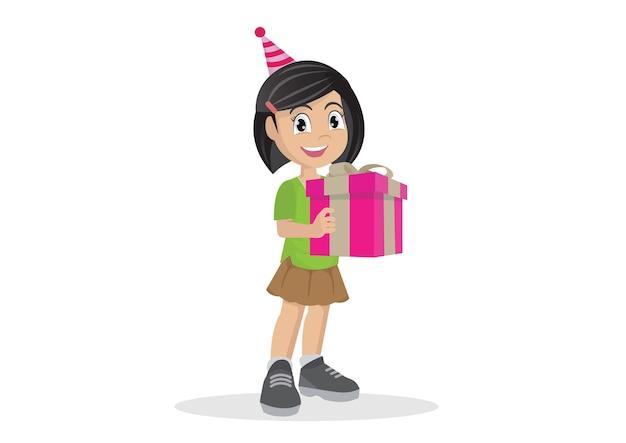 선물 상자를 들고 어린 소녀