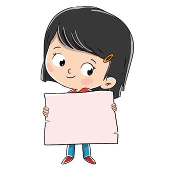 Little girl holding a announcing