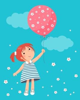 주위에 꽃과 풍선을 들고 어린 소녀