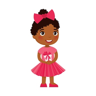 Little girl holding festive gift box. dark skin kid with valentines day