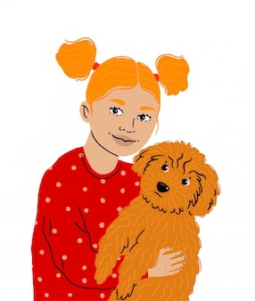 A little girl hugs her beloved pet, that cute toy poodle. pet care. girl with ponytails holds a dog, love for animals. illustration isolated  .