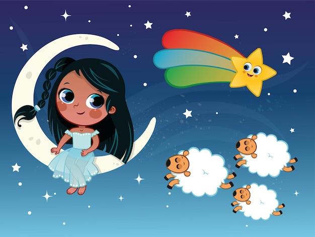 Маленькая девочка иллюстрации в теме ночи и сна векторные иллюстрации