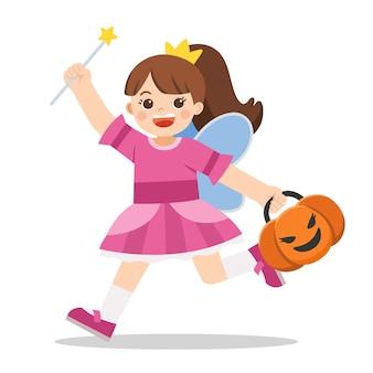 白い背景の上のトリック・オア・トリートのパンプキンバスケットと天使の衣装の少女。ハッピーハロウィン。