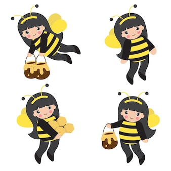 꿀벌 의상을 입은 어린 소녀