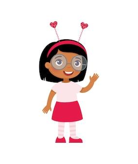 Маленькая девочка в милой повязке на голову. празднование дня святого валентина.