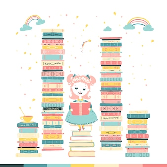A little girl is reading a fairy tale story. magical fantasy. piles of books. cartoon illustration in pastel colors.