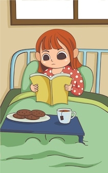 Little girl is reading on her bed