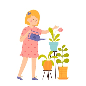 小さな女の子は屋内植物に水をまきますベクトルイラスト漫画風のキャラクター