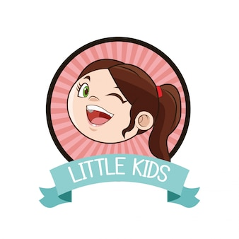 Little girl kid cartoon inside seal stamp with ribbon icon