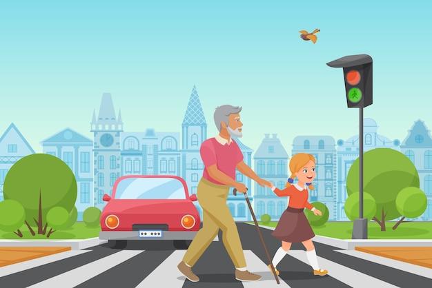 Маленький ребенок девочка помогает старику перейти дорогу в городе
