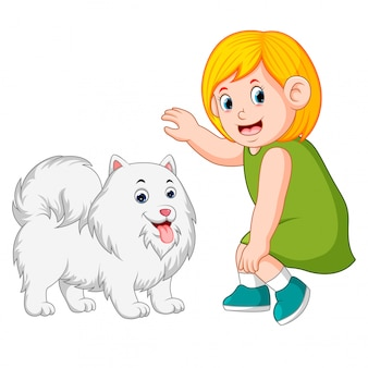 Little girl and kind dog