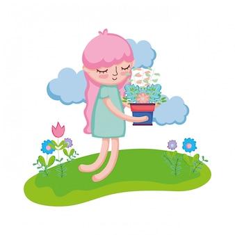 風景の中の観葉植物を持ち上げる少女