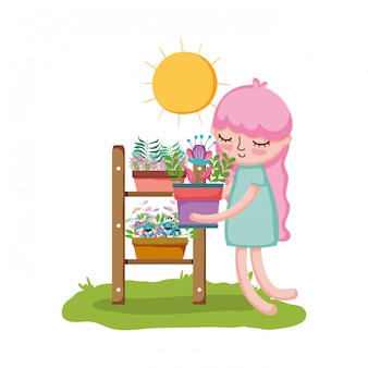 Little girl lifting houseplant with garden shelf