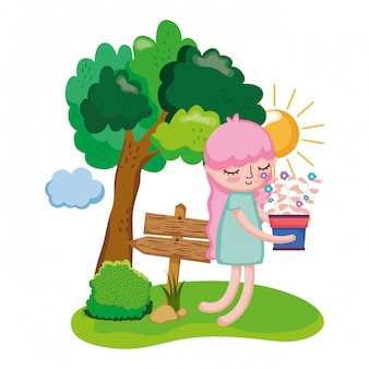 Little girl lifting houseplant with wooden arrows and tree