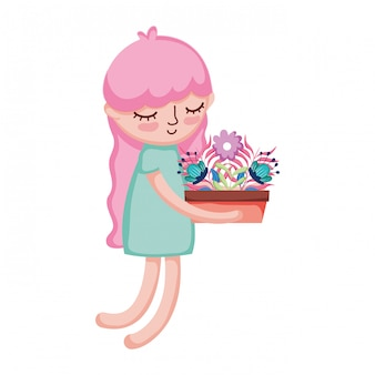 Little girl lifting houseplant