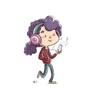 Little girl listening to music walking