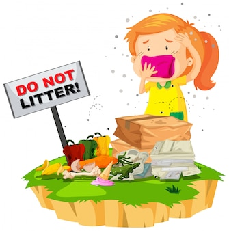 Little girl and litter pile