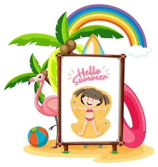 고립 된 해변 장면에서 배너에 어린 소녀 로고