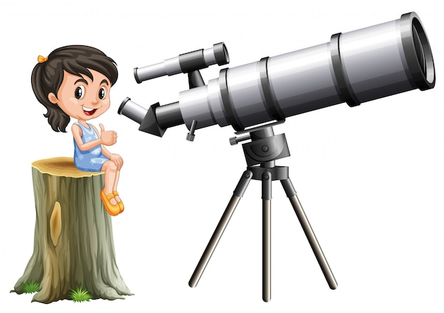 Little girl looking through telescope
