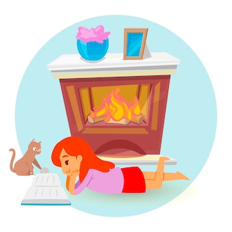 Little girl lying and reading book before fireplace , cartoon style .