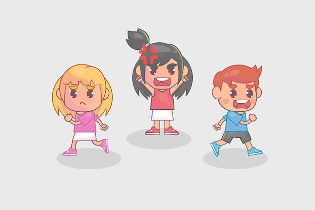 Маленькая девочка злится и кричит так громко и заставляет своего друга бежать