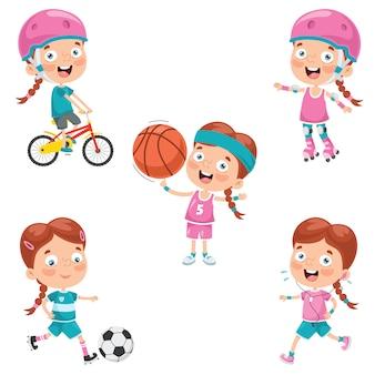 Little girl making various sports