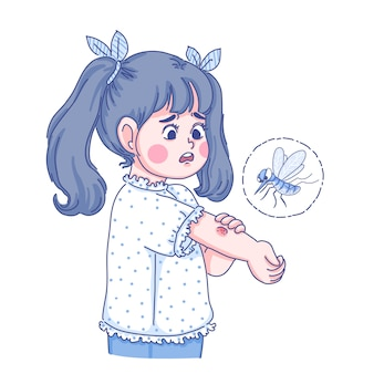 Little girl and mosquito