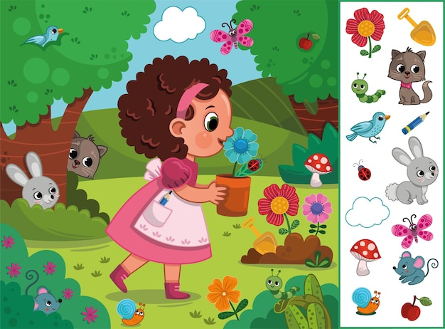 Little girl in nature hidden objects and animals educational game vector illustration for children