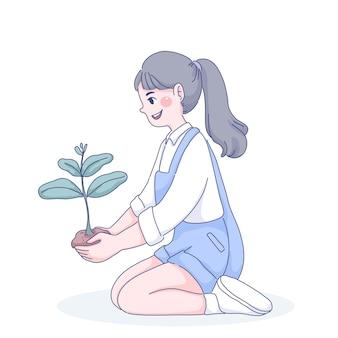 Маленькая девочка сажает дерево иллюстрации
