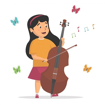 Little girl playing cello with butterfly background vector  illustration concept