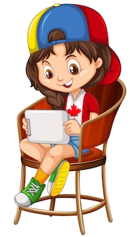 Little girl playing game on tablet
