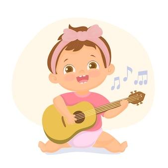 ギターのイラストを演奏する少女