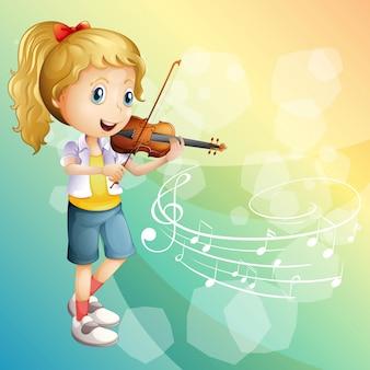 Маленькая девочка играет на скрипке
