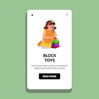 Little girl playing with block toys game