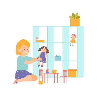 Little girl playing with her doll kindergarten cartoon style character
