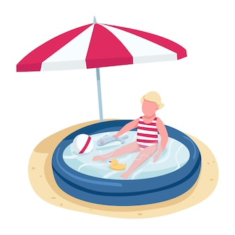 Little girl playing with toys in inflatable pool flat color  faceless character. kid on beach under sun umbrella isolated cartoon illustration for web   and animation