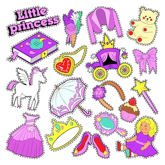 Little girl princess badges, patches, stickers with toys, unicorn and clothes.  doodle