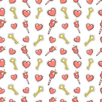 Little girl princess seamless background with magic wand, hearts and golden keys.  pattern