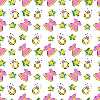 Little girl princess seamless background with pink dress, stars and rings.  pattern