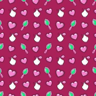 ピンクのハート、香水、ミラーと少女プリンセスのシームレスな背景。パターン