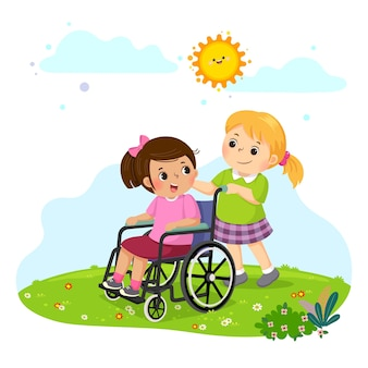 Little girl pushing her friend in a wheelchair