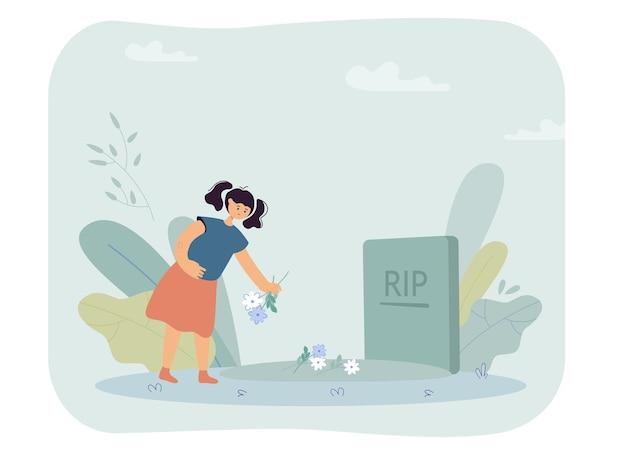 Little girl putting flowers on grave. sad orphan character in cemetery, gravestone flat vector illustration