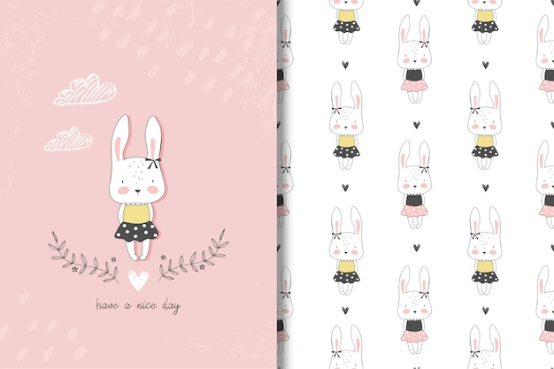 Little girl rabbit card and seamless pattern