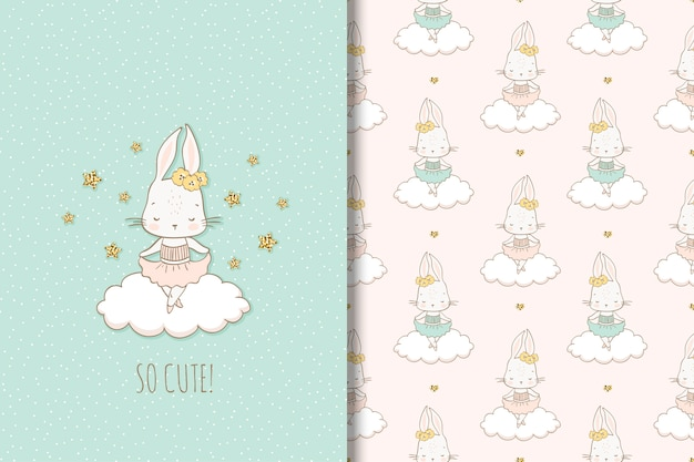 Little girl rabbit dancing on the cloud. illustration and seamless pattern for kids.
