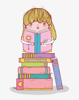Little girl reading book in stacked books cartoon