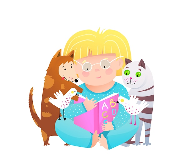 Little girl reading to cat and dog pets