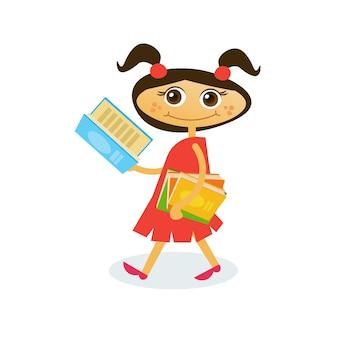 Little girl reading on walk hold stack of books