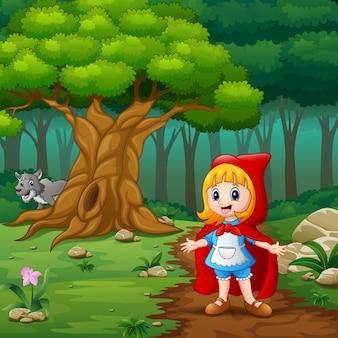 어린 소녀 빨간 언덕의 거리에서 두건
